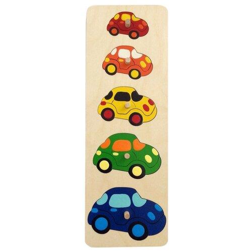 Купить Рамка-вкладыш Крона Машинки (143-010), 5 дет. синий/зеленый/желтый, Пазлы