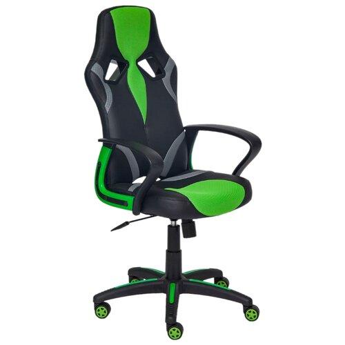 Компьютерное кресло TetChair Runner игровое, обивка: текстиль/искусственная кожа, цвет: черный/зеленый компьютерное кресло tetchair runner игровое обивка текстиль искусственная кожа цвет черный желтый