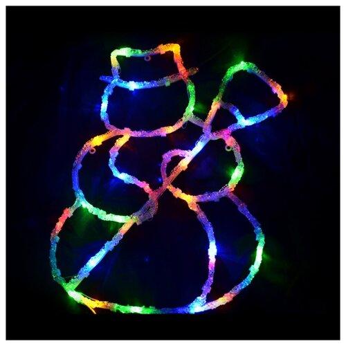 Панно Волшебная страна Снеговичок 43 х 29 см, разноцветный/прозрачный провод волшебная страна световое панно дед мороз на упряжке 20 ламп 44 5х24 см волшебная страна