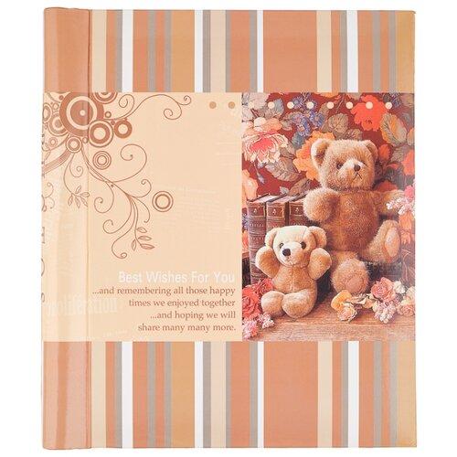 Фотоальбом BRAUBERG Плюшевые мишки (390683), 60 фото, для формата 18 х 24, оранжевый
