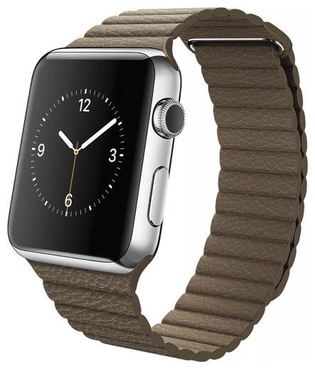 Ремешок для Apple watch 42mm PU Leather коричневый