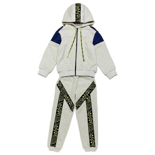 Спортивный костюм ЁМАЁ размер 98, серый меланж/синий меланж