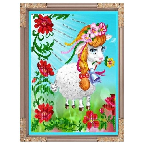 Светлица Набор для вышивания бисером Забавная овечка 27,8 х 22,9 см, бисер Чехия (357)