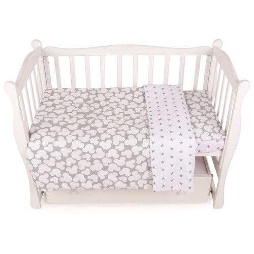 Фото - Amarobaby комплект в кроватку Baby Boom Мышонок (3 предмета) серый amarobaby комплект в кроватку baby boom короны 3 предмета серый