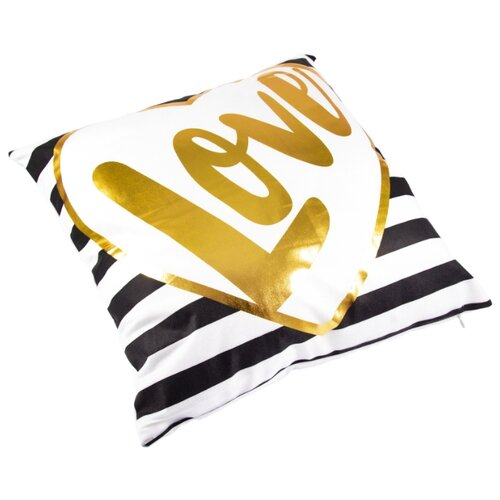 Чехол для подушки Русские подарки 76320, 45 х 45 см белый/золотой/черныйДекоративные подушки<br>