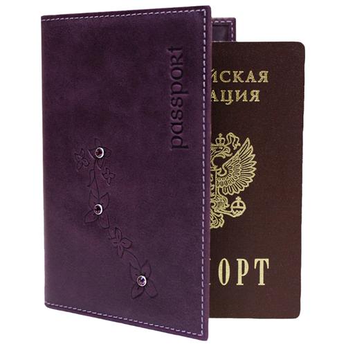 Обложка для паспорта женская кожаная ОПВ Мэри друид фиолетовый Kniksen