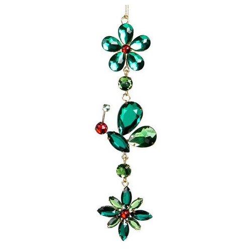 Елочная игрушка Goodwill Изумрудный Цветок 19 см (TR 26207) зеленый/красный/мотылек.