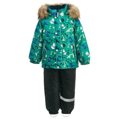 Комплект с полукомбинезоном KISU размер 92, зеленый/черный брюки утепленные kisu kisu mp002xc006zn