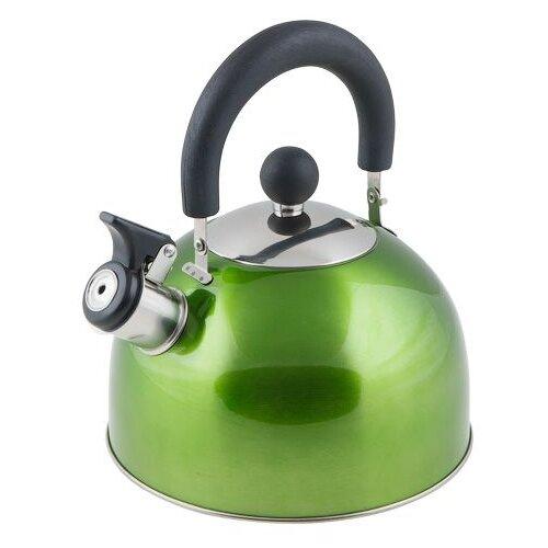 Чайник со свистком, нержавеющая сталь, 2.15 л, серия Holiday, зеленый металлик, PERFECTO LINEA (диаметр 19 см, высота 16 см, общий объем изделия 2,5л)
