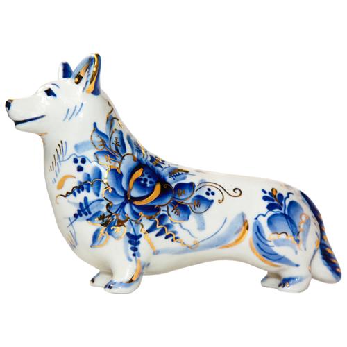 Статуэтка Породистая Гжель Собака Корги с хвостом гжель в золоте