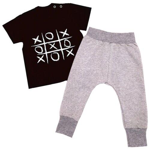 Купить Комплект одежды MilleFaMille размер 68-44, черный/серый, Комплекты