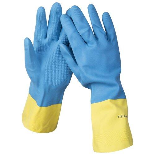 Перчатки STAYER латексные с неопреновым покрытием 11210, 1 пара, размер XL, цвет голубой/желтый