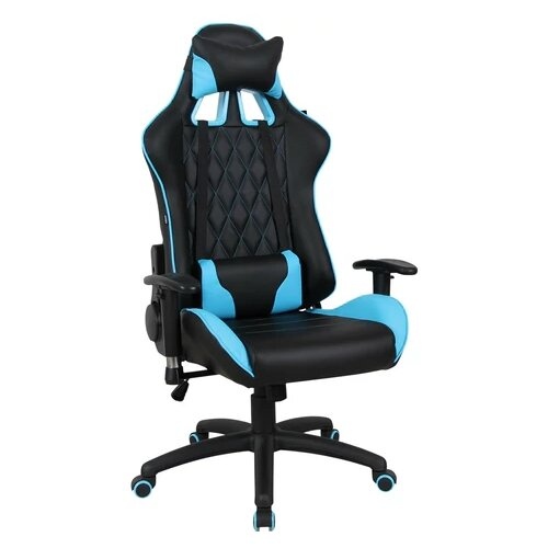 Компьютерное кресло Brabix GT Master GM-110 игровое, обивка: искусственная кожа, цвет: черный/голубой компьютерное кресло brabix nitro gm 001 игровое обивка искусственная кожа цвет черный