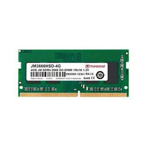 Оперативная память Transcend DDR4 2666 (PC 21300) SODIMM 260 pin, 4 ГБ 1 шт. 1.2 В, JM2666HSD-4G