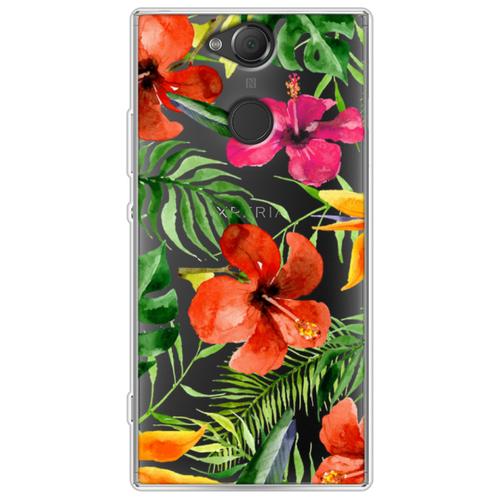 Силиконовый чехол Яркие тропические цветы на Sony Xperia XA2 Plus