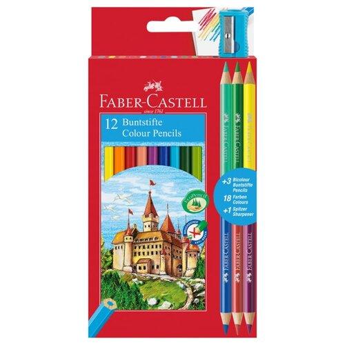 Купить Faber-Castell Карандаши цветные 12+3 цвета (110312), Цветные карандаши