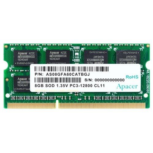 Купить Оперативная память Apacer DDR3 1600 (PC 12800) SODIMM 204 pin, 8 ГБ 1 шт. 1.5 В, CL 11, DS.08G2K.KAM