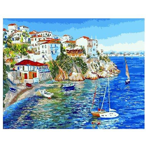 ВанГогВоМне Картина по номерам Белые домики Греции , 40х50 см (ZX 20093), Картины по номерам и контурам  - купить со скидкой