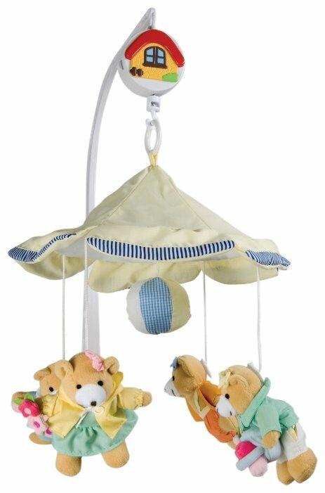 Карусель музыкальная плюшевая медвежата-девочки под зонтиком Canpol Babies