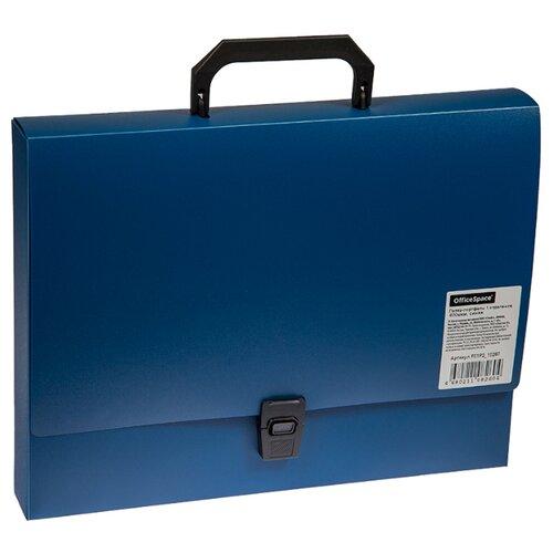 OfficeSpace Папка-портфель 1 отделение А4, на замке, пластик синий officespace папка адресная с гербом а4 балакрон синий