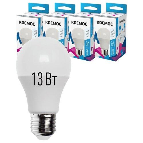 Лампочки светодиодные Космос А60 13Вт Е27 4шт (аналог 120Вт) Нейтральный белый свет