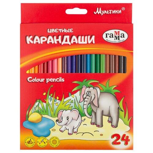 Купить ГАММА Карандаши цветные Мультики 24 цвета (050918_09), Цветные карандаши