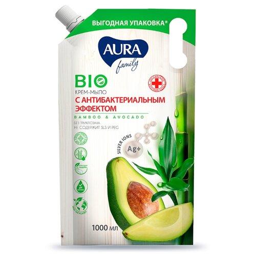 Купить Мыло жидкое Aura Family с антибактериальным эффектом Бамбук и авокадо, 1 л
