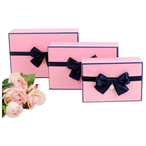 Набор подарочных коробок Yiwu Zhousima Crafts 2963194 - 95, 3 шт. розовый
