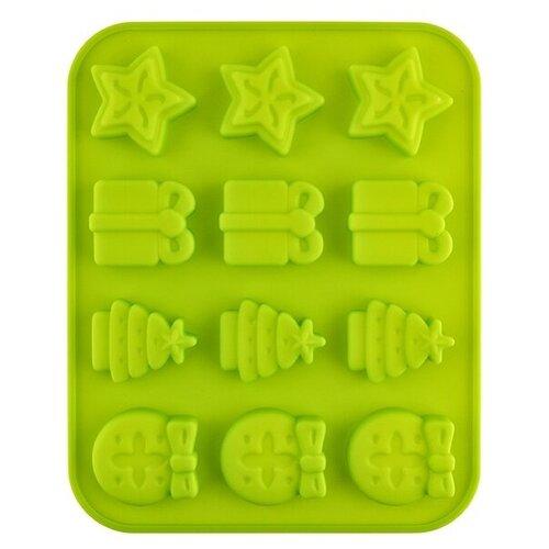 Форма для льда Pan-Cake SPC-0109, новогодняя,12 ячеек зеленый