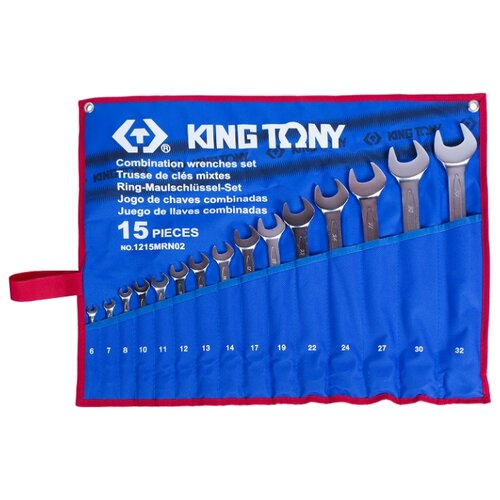Набор гаечных ключей KING TONY (15 предм.) 1215MRN02 серебристый молоток king tony king tony молоток 300 г