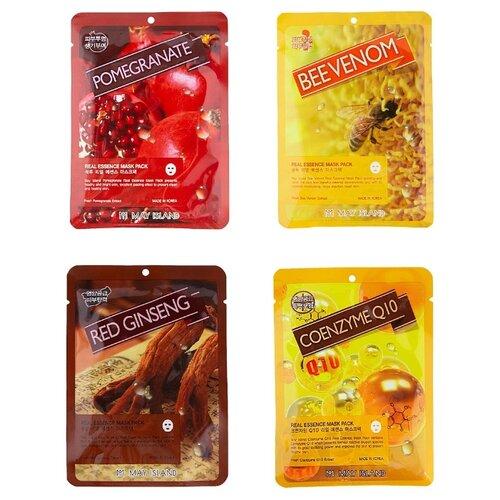 Купить MAY ISLAND Набор увлажняющих тканевых масок Real Essence: Bee Venom, Red Ginseng, Pomergranate, Q10, 25 мл, 4 шт.