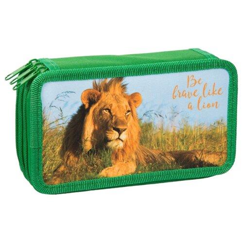 Купить ArtSpace Пенал Дикие кошки Лев (ПК12-20_16319) зелeный, Пеналы