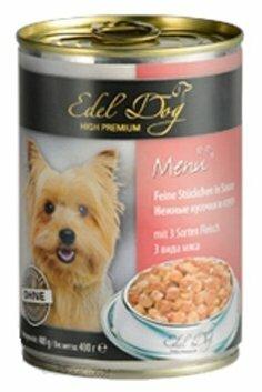 Корм для собак Edel Dog 3 вида мяса (0.4 кг) 24 шт.