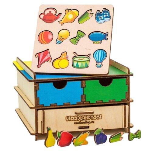 WoodlandToys Обучающий комодик плоский «Съедобное-несъедобное»