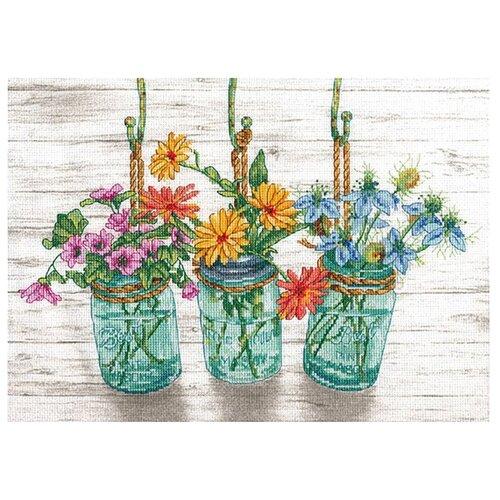 Dimensions Набор для вышивания Flowering Jars (Цветущие банки) 35,5 х 25,4 см (70-35378) бумага для рукоделия белоснежка цветущие сады 30 х 45 см