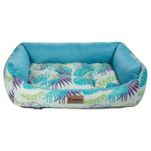 Лежак для собак и кошек Гамма Тропики прямоугольная медиум 52х45х17 см голубой