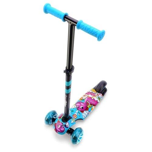 Фото - Детский кикборд Small Rider Turbo 2 Cartoons, синий/розовый дино кикборд small rider cosmic zoo scooter оранжевый
