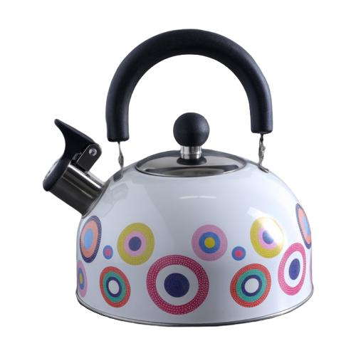 Доляна Чайник со свистком Круги 4531575 1.9 л, белый/разноцветный