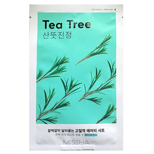 Missha Маска успокаивающая тканевая Airy Fit Sheet Mask Теа Tree с экстрактом чайного дерева, 19 гДля проблемной кожи<br>