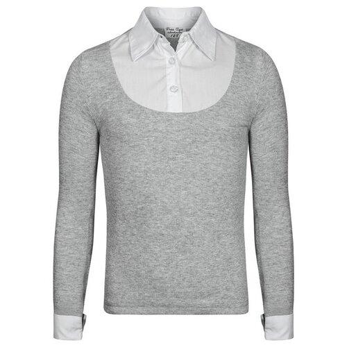 цена на Блузка Free Age размер 122, серый меланж/белый