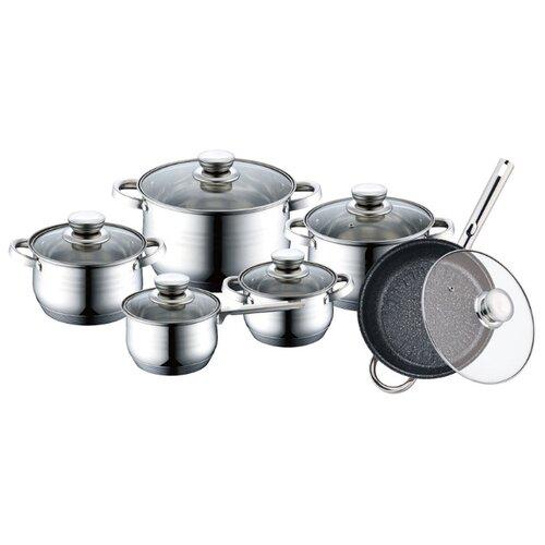 Набор посуды Bekker De Luxe BK-1755 12 пр. серебристый набор посуды из 6 предметов bekker de luxe bk 1738