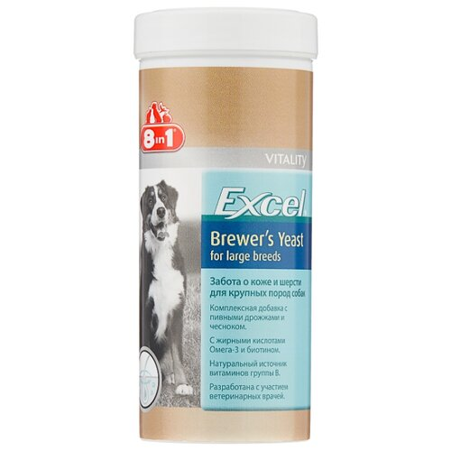 Добавка в корм 8 In 1 Excel Brewer's Yeast для собак крупных пород 80 таб. недорого