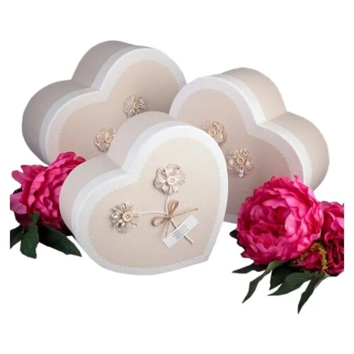 Набор подарочных коробок Yiwu Zhousima Crafts 3695627, 3 шт бежевый
