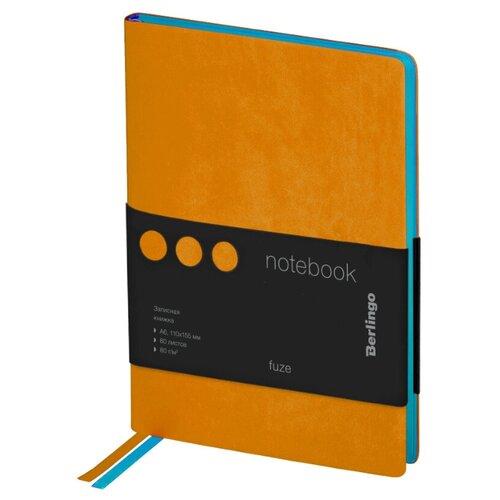Купить Ежедневник Berlingo Fuze недатированный, искусственная кожа, А6, 80 листов, оранжевый, Ежедневники, записные книжки