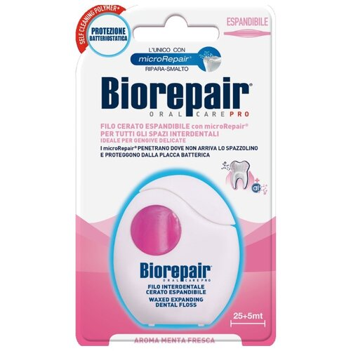 Купить Biorepair Filo Cerato Espandibile расширяющаяся зубная нить c воском для чувствительных десен, 30м