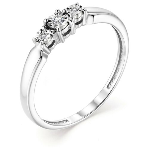 АЛЬКОР Кольцо с 3 бриллиантами из белого золота 13164-200, размер 19 алькор кольцо с бриллиантами из белого золота 585 пробы 12015 200 размер 19 5
