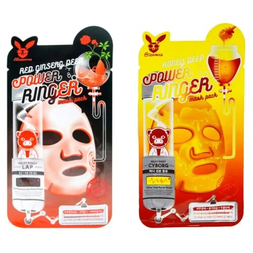 Elizavecca Набор Лифтинг-масок: Honey Deep Power Ringer Mask Pack + Red Ginseng Deep Power Ringer Mask Pack, 23 мл, 2 шт. matrix biolage mask smoothproof pack deep treatment mask