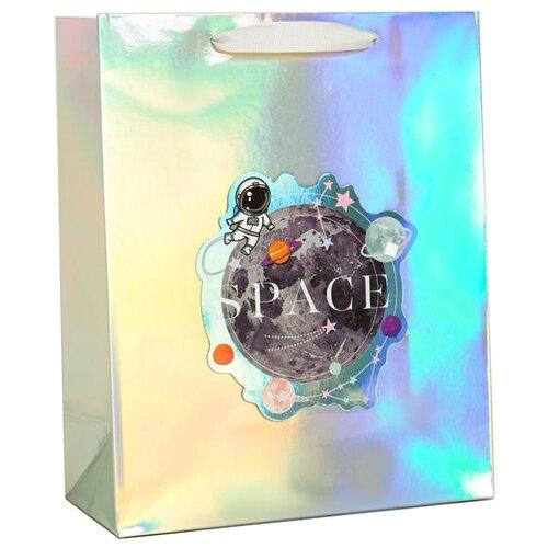 Фото - Пакет подарочный Дарите счастье Space, 26 х 32 х 12 см голубой/сиреневый бумага упаковочная дарите счастье момент счастья 0 68 × 10 м сиреневый