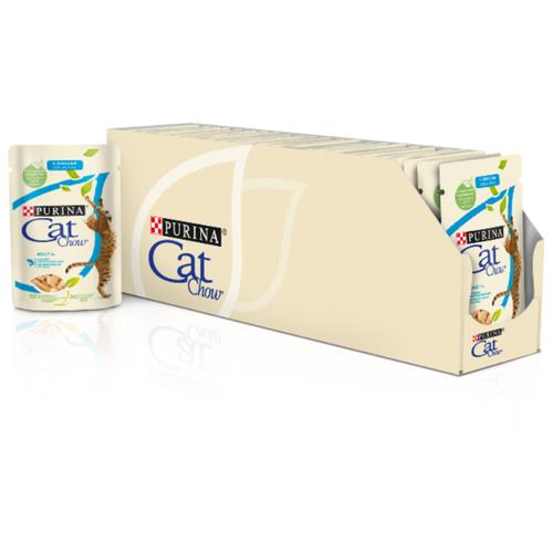 Фото - Влажный корм для кошек CAT CHOW с лососем, с зелёной фасолью 24 шт. х 85 г (кусочки в желе) влажный корм для кошек cat chow с ягненком с зелёной фасолью 34 шт х 85 г кусочки в желе