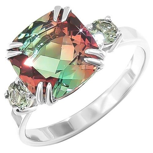 POKROVSKY Серебряное кольцо с оранжево-зеленым ювелирным стеклом и с зелеными фианитами 1100883-10355, размер 17.5 серебряное кольцо с фианитами и муранским стеклом лазурного цвета